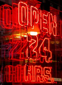 Open 24 hours sign by Allison Choppick