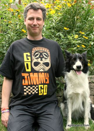 Steve in a Go Jimmy Go T shirt with Meeker