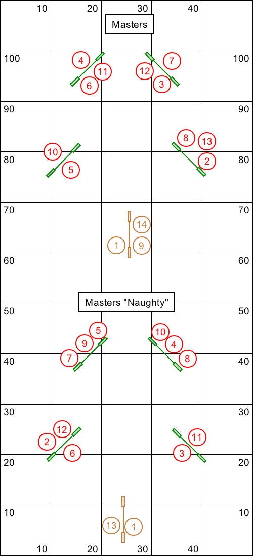 Two Christmas tree shaped agility courses