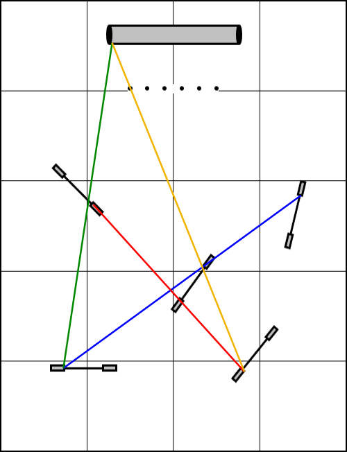 Course diagram of jumps, weaves, and tunnel showing three lines connecting the upgrights of jumps and a tunnel